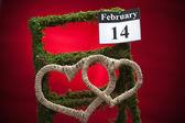 14 lutego, Walentynki, czerwone serce — Zdjęcie stockowe