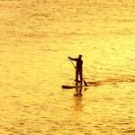 Man paddleboarding with dog — Stock Photo #62904733