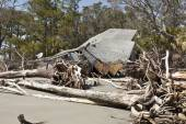 House destroyed by floodwaters — Stock Photo