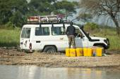 Vehicle stuck in mud, South Sudan — Stock Photo