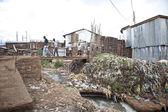 River of sewage, Kibera Kenya — Stock Photo