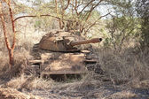 Wrecked tank in South Sudan — Stockfoto