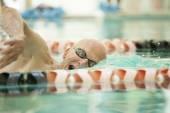 Closeup of senior swimmer — Stock Photo
