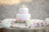Simple two tier wedding cake — Stock Photo