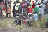 Dinka children at tribal gathering — Stockfoto