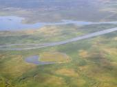Wetlands of the nile, aerial view — Stock Photo