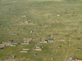 Aerial view of village in South Sudan — Stock Photo