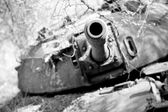 Wrecked tank in South Sudan — Stock Photo