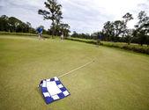 Golf flag and players — Stock Photo