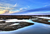 Oyster beds and harbor hdr — 图库照片