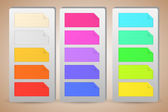 Colorful banner paper notes sticked on holders — Stock Vector