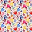 Romantic seamless pattern with vintage cartoon hearts — Stock Vector #52779389