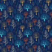 Seamless  vector tree pattern with forest illustration — Vetorial Stock