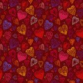 Romantic seamless pattern with vintage cartoon hearts — Vetorial Stock