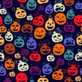 Traditional Halloween carved smiling pumpkins seamless pattern. — Vettoriale Stock