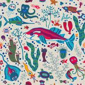 Seamless background with fish, shellfish, seaweed and shells — Cтоковый вектор