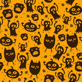 Pattern seamless texture with silhouette of a cat, pumpkin, ghost, owl, spider, skull — Stock Vector