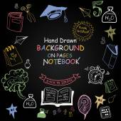 Back to School. Funny Pictures chalk on a blackboard. — Stock Vector