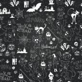 Vector chalkboard halloween seamless pattern — Stok Vektör