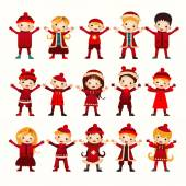 Christmas kids group isolated on white — Stock Vector