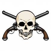 Skull with Cross Pistols — Stock Vector