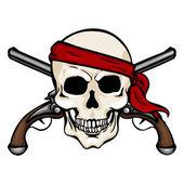 Pirate Skull in Red Bandana with Cross Pistols — Stock Vector