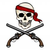 Pirate Skull in Red Bandana with Cross Pistols — Stock Vector