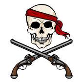 Pirate Skull in Red Bandana with Cross Pistols — Vector de stock