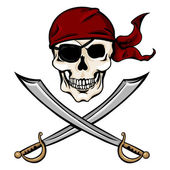 Pirate Skull in Red Bandana with Cross Swords — Stock Vector
