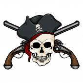 Pirate Skull in Tricorn with Cross Pistols — Stock Vector