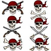 Pirate Skulls in Red Bandana — Stock Vector