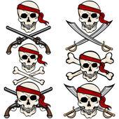 Pirate Skulls in Red Headband — Stock Vector
