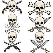 Cartoon Pirate Skulls — Stock Vector