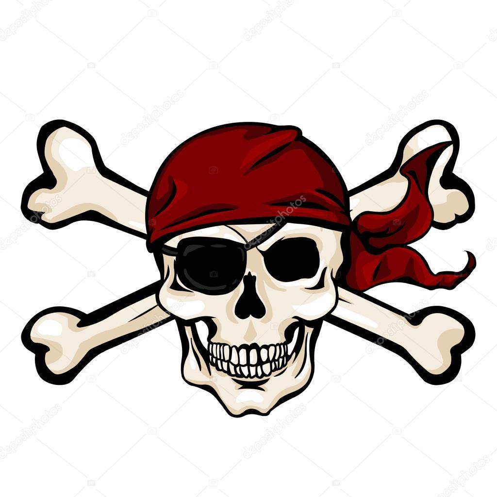 Calavera pirata en paliacate rojo — Archivo Imágenes