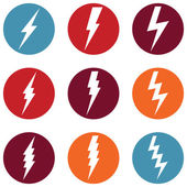Vector Set of Thunder Lighting Icons — Stock Vector