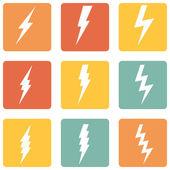 Vector Set of Thunder Lighting Icons — Stock Vector