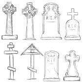набор векторных эскиз надгробия кладбища — Cтоковый вектор