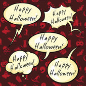 Set of Happy Halloween Bubbles — Stock Vector
