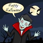 Vampier met bubble - happy halloween. — Stok Vektör