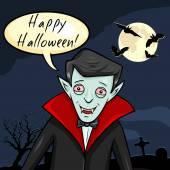Vampiro com bolha - feliz dia das bruxas. — Vetorial Stock