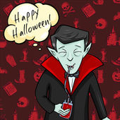 Halloween Postcard. Vampire with Bubble - Happy Halloween. — Stockvector