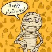 Halloween Postcard. Mummy with Bubble - Happy Halloween — Wektor stockowy