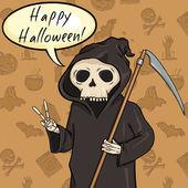 Halloween Postcard. Death with Scythe — Stock Vector
