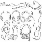 Set of Sketch Headphones. — Stock Vector