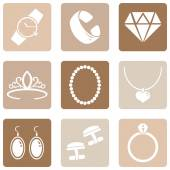 Smycken ikoner — Stockvektor