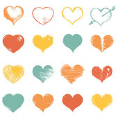 Sketch Hearts — Vettoriale Stock