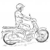 Homem em moto — Vetor de Stock