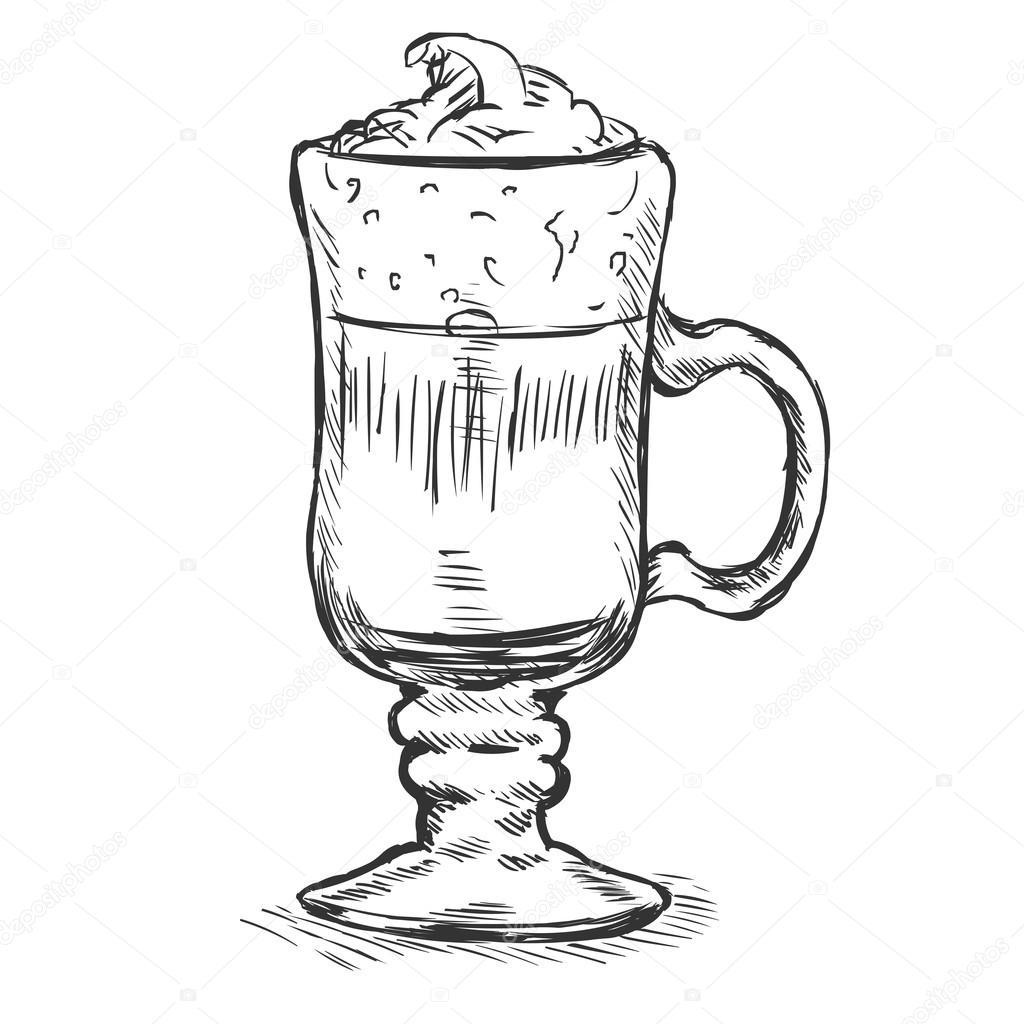 vector sketch verre irish coffee image vectorielle nikiteev 57167649. Black Bedroom Furniture Sets. Home Design Ideas