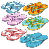 Set of Beach Slippers — Stock Vector