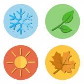 Satz von Jahreszeiten-Symbole. — Stockvektor